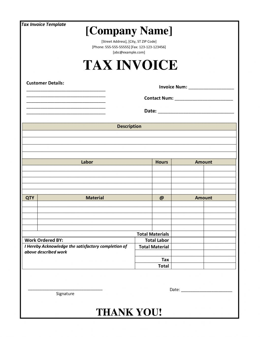 Tax Invoice Samples