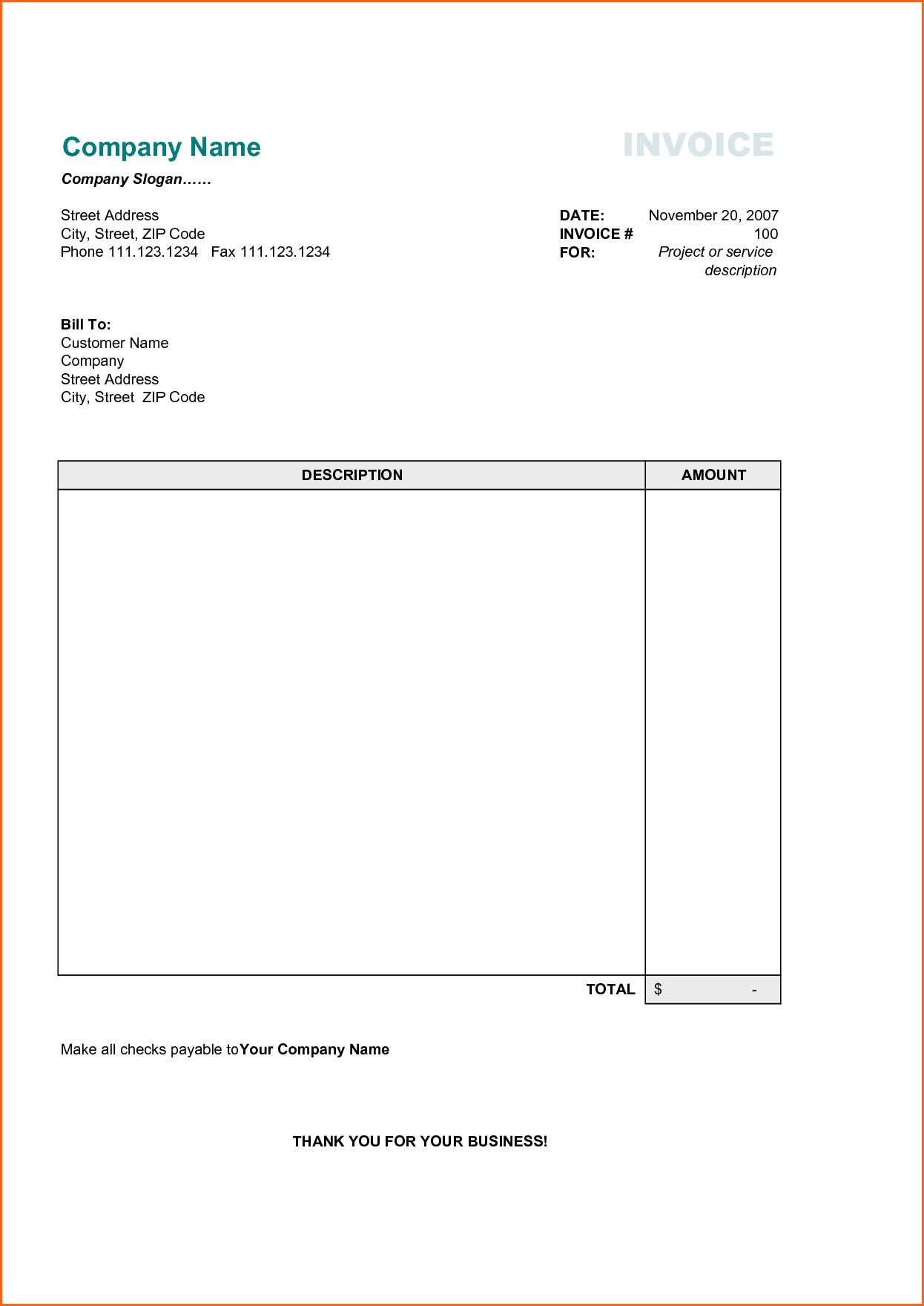 11 business invoice sample contract template free sample invoice templates