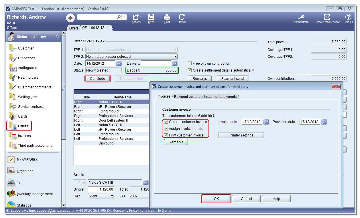 amparex user manual raising an invoice