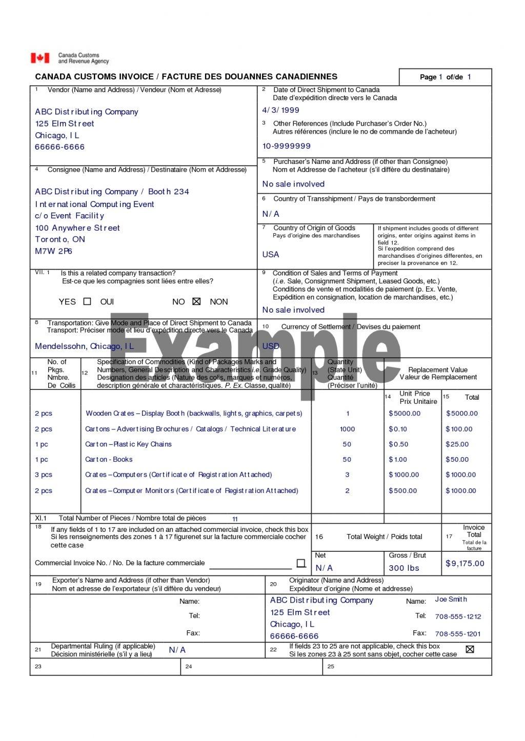 canada customs invoice invoicegenerator canada custom invoice