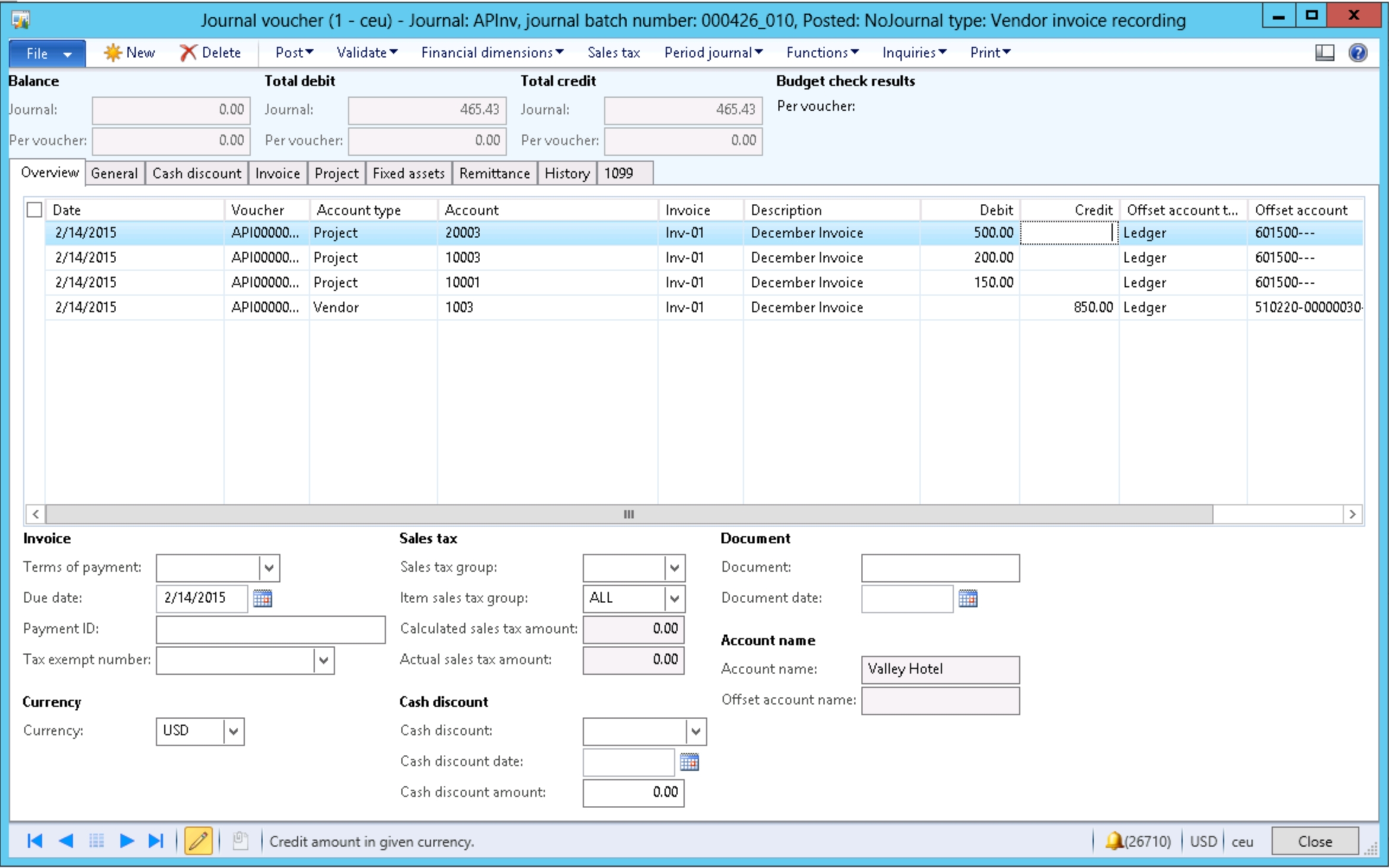 charging invoices to multiple projects dynamics ax 2012 journal entry for invoice