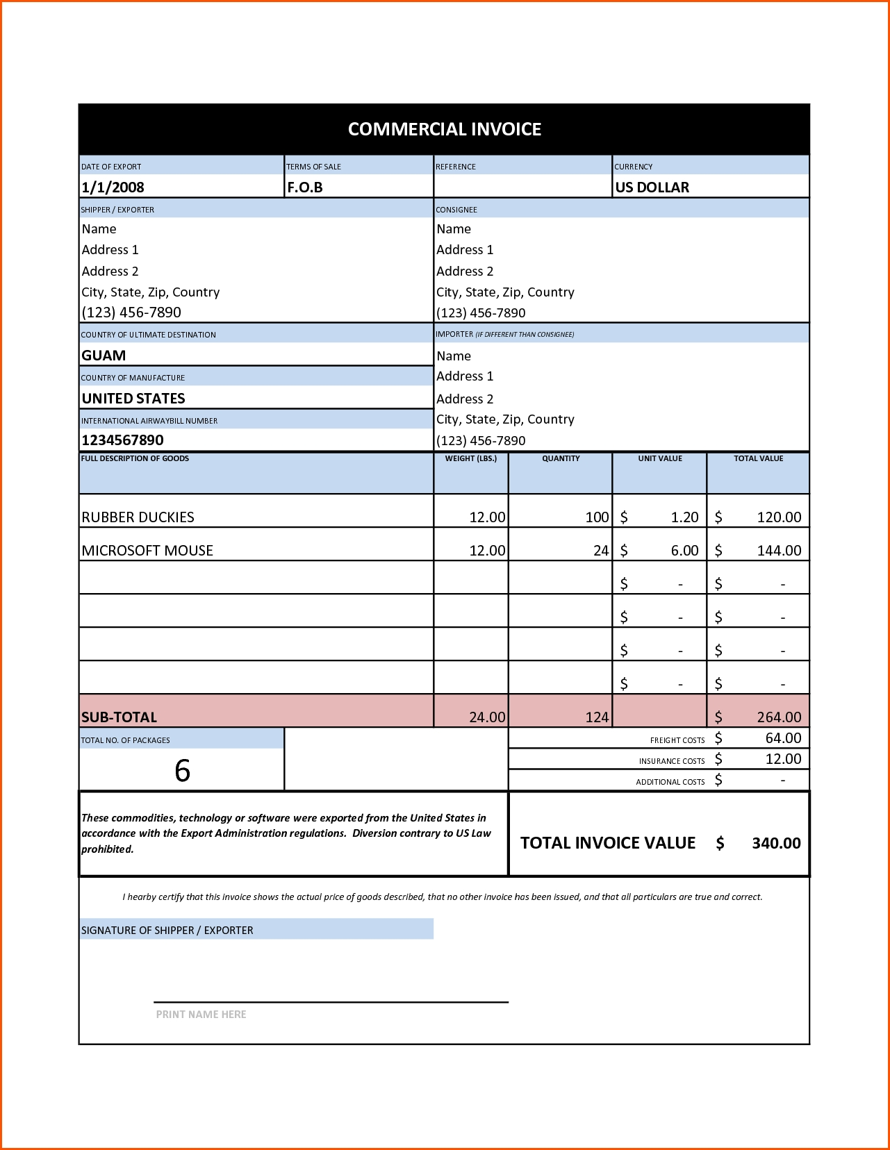 Commercial Invoice Sample Excel Invoice Template Ideas – Sample Commercial Invoice