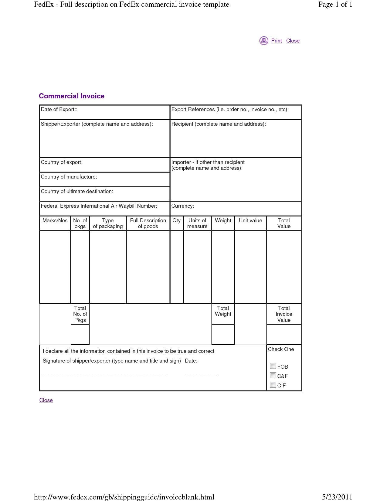 Fedex Proforma Invoice