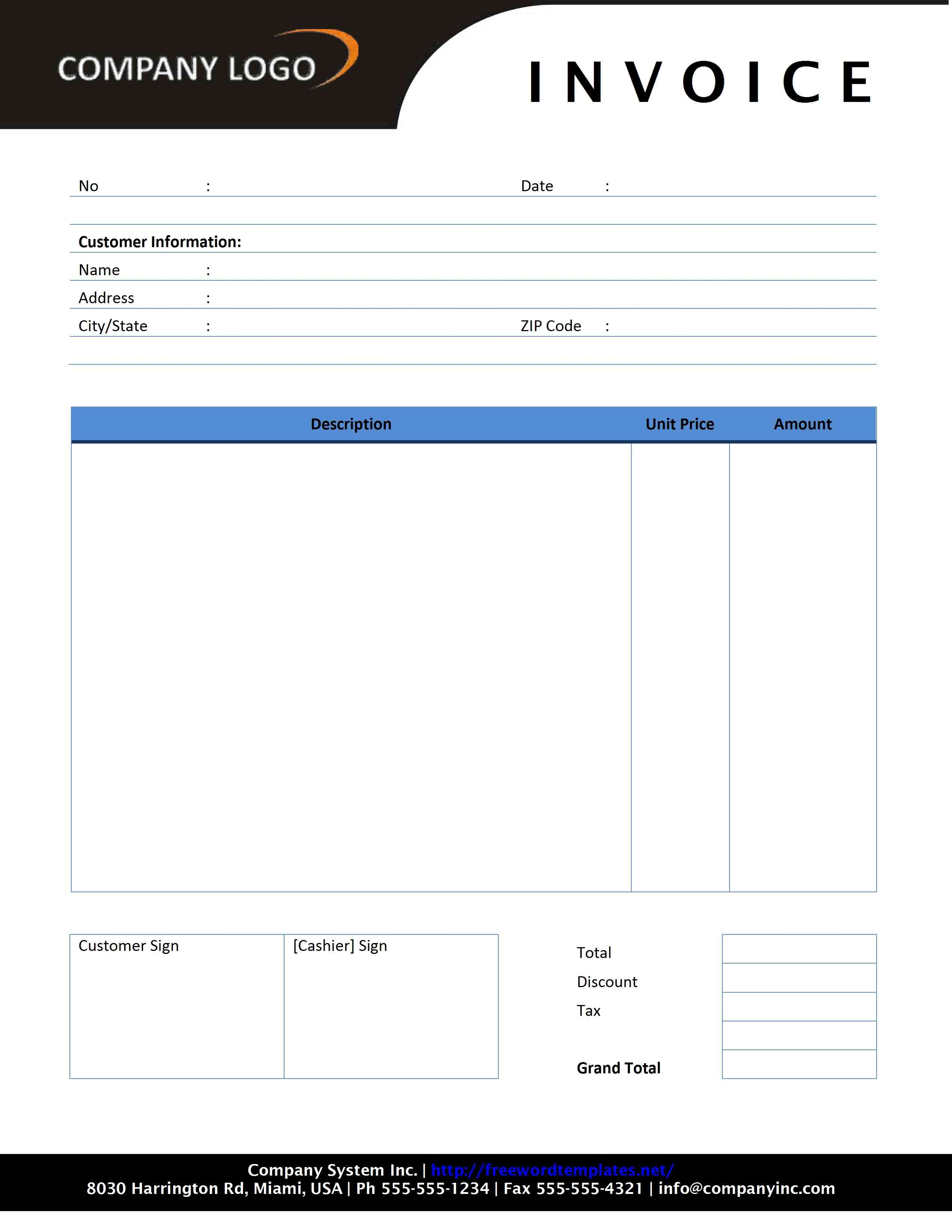 Microsoft Word Free Invoice Template