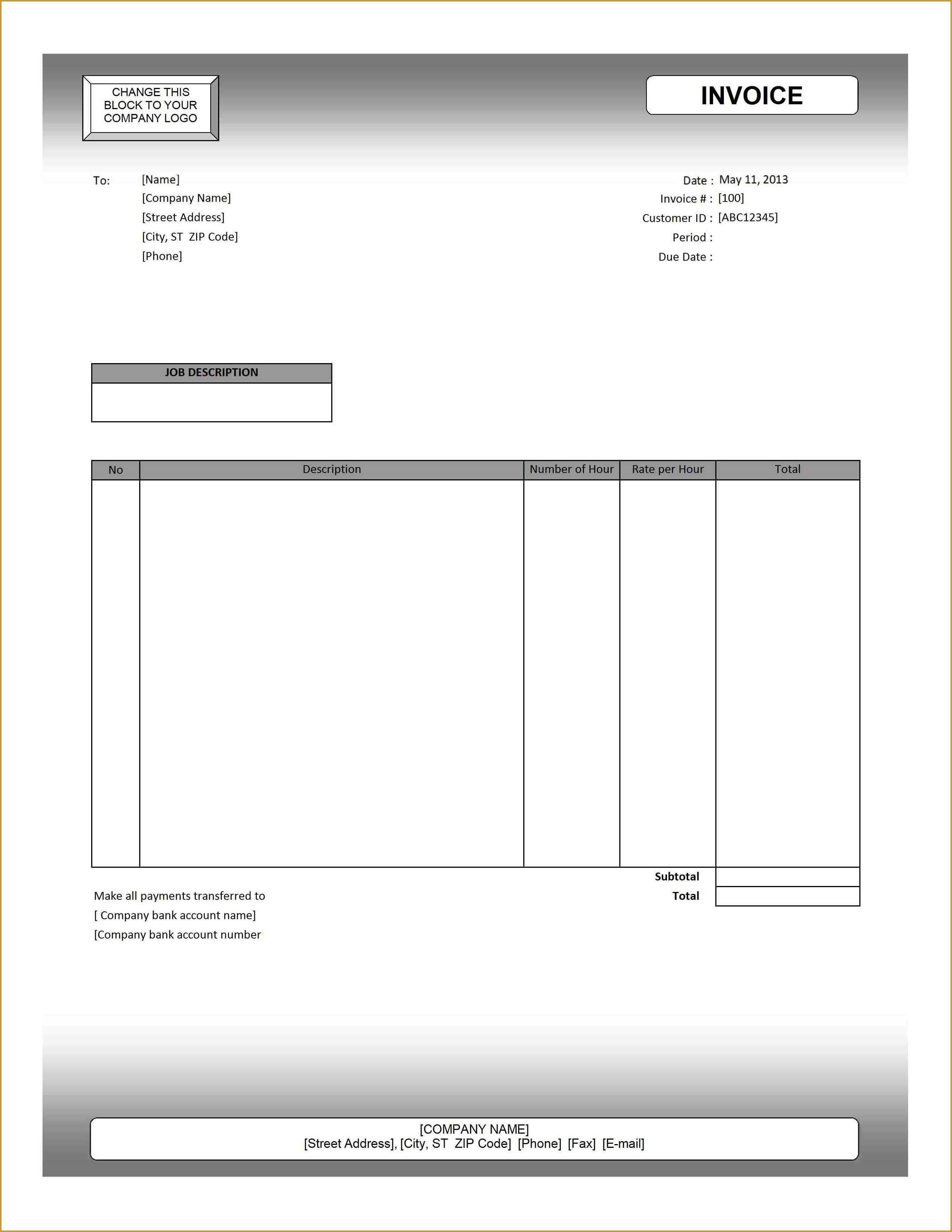 generic invoice form billing invoice template blank invoice blank invoice form excel