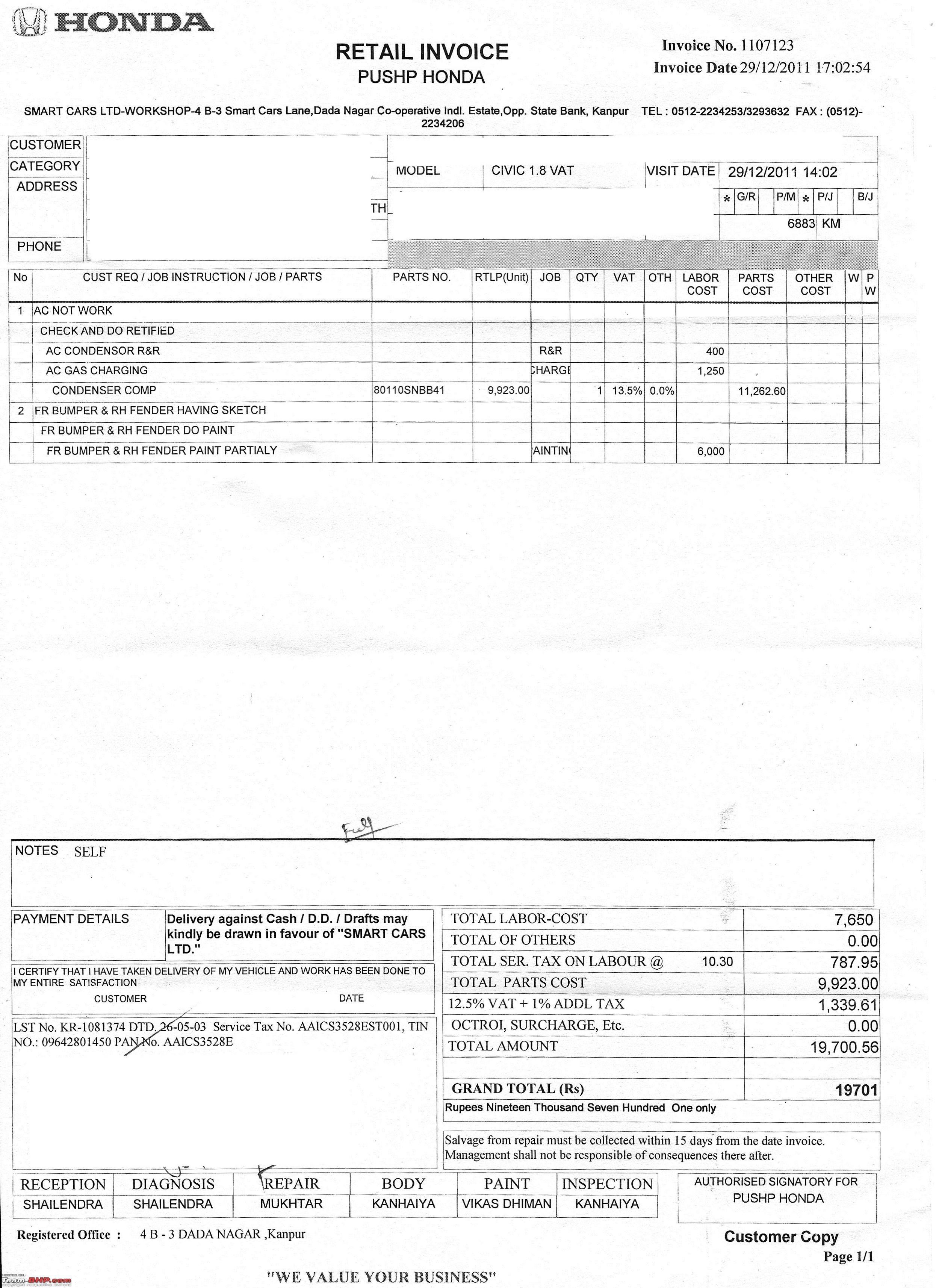 honda civic invoice honda civic v at alabaster silver page 9 team bhp 2491 X 3427