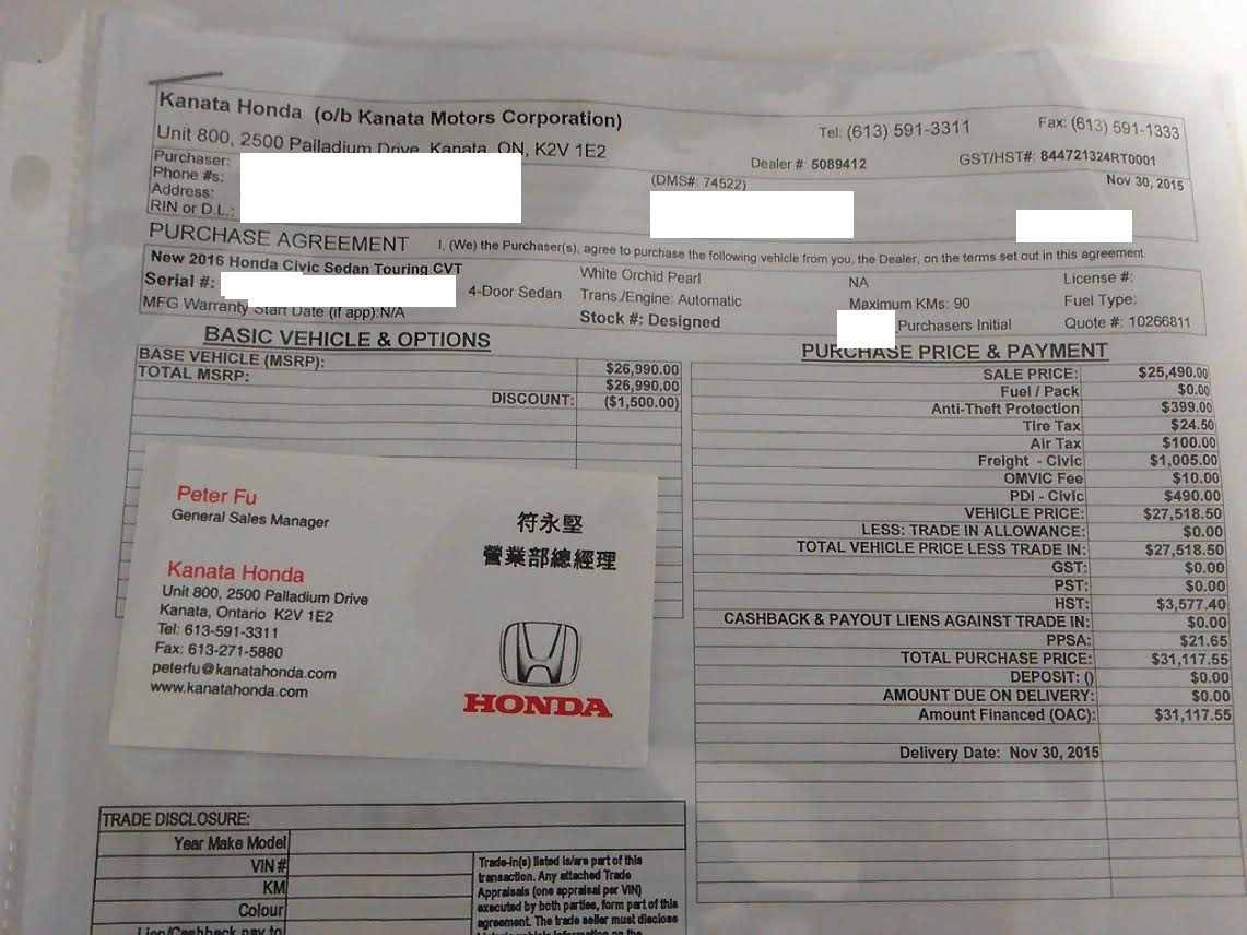 Honda Civic Invoice