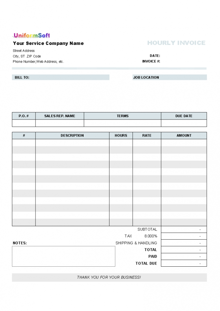 hourly invoice form for uniform invoice software fillable blank free fillable invoice template