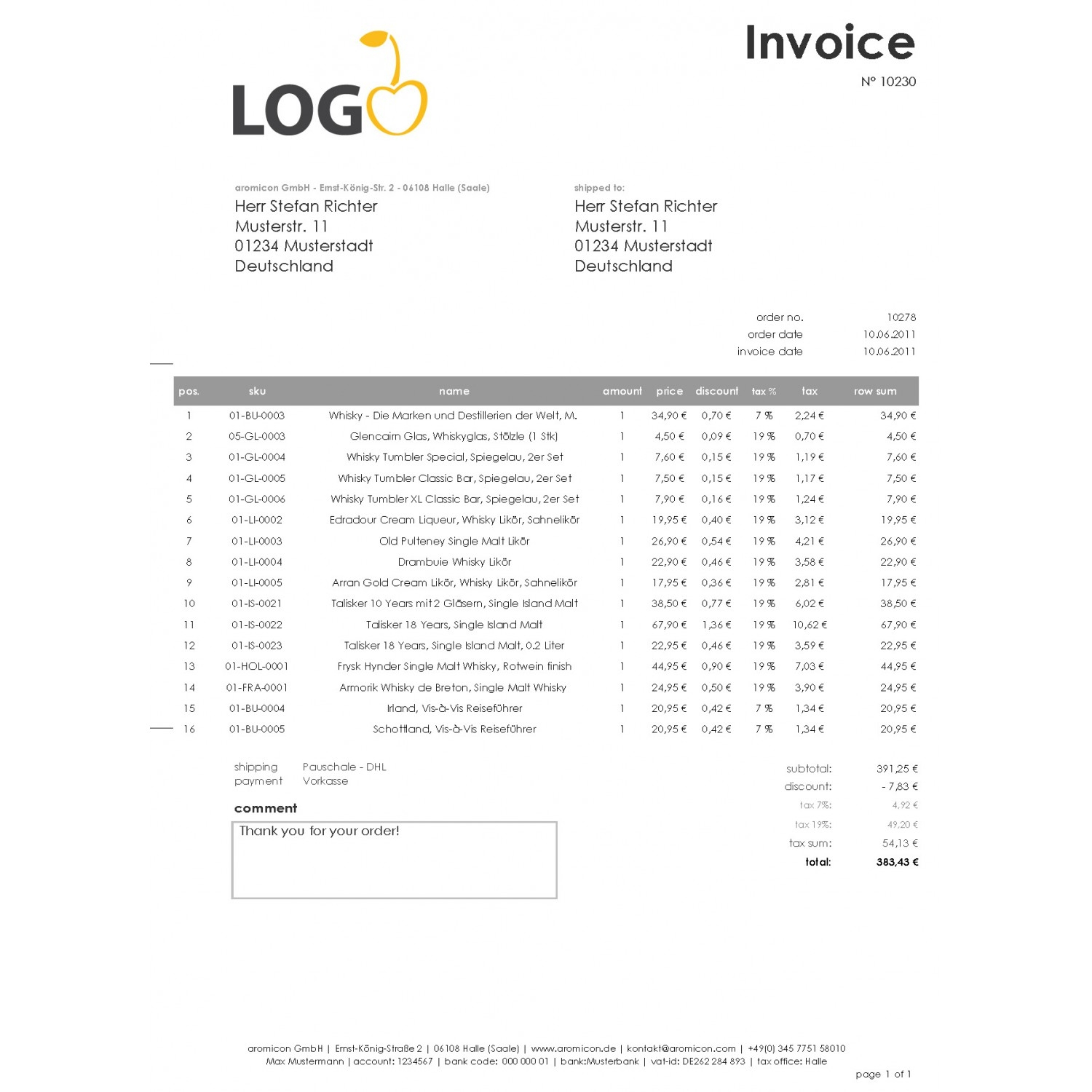 Invoice In English