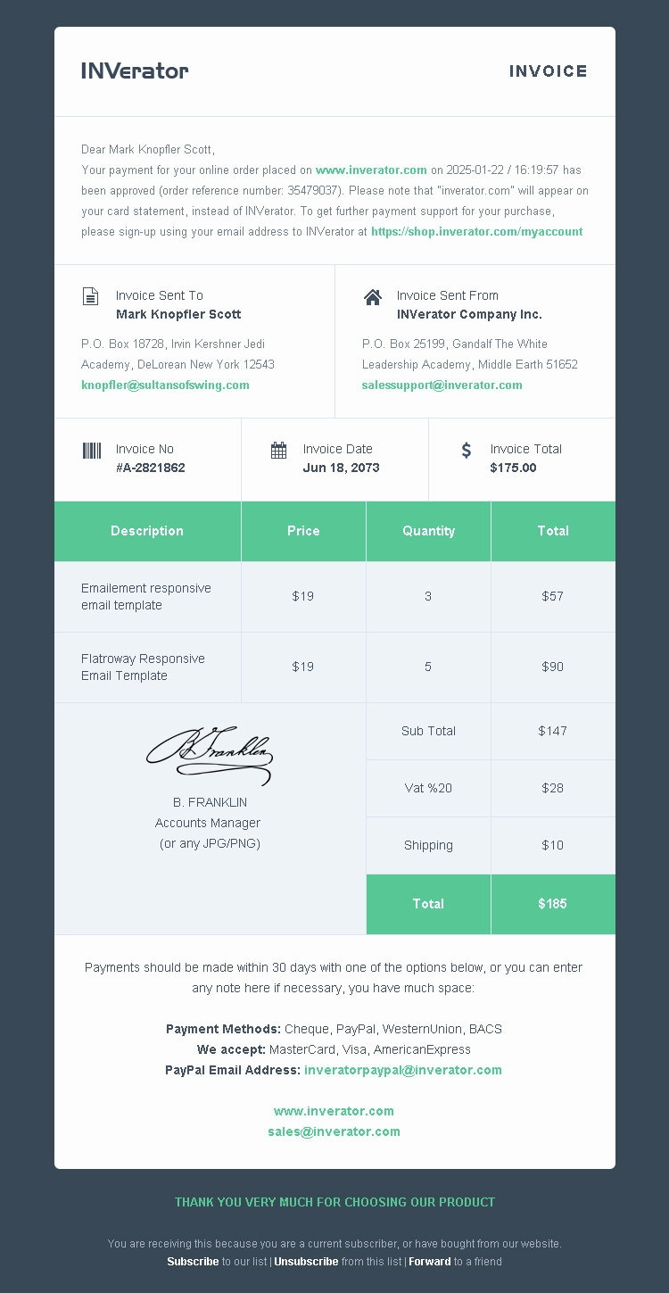 invoice template payment receipt email builder bedros ubercart invoice template
