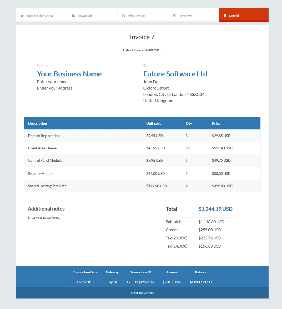 invoice templates automated billing hostbill complete client professional invoices template