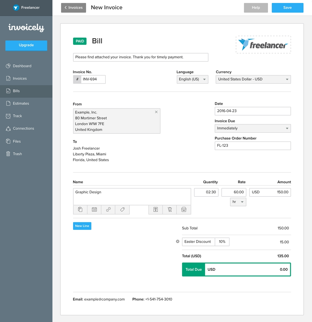make online invoice free online invoicing for small businesses invoicely 1000 X 1031