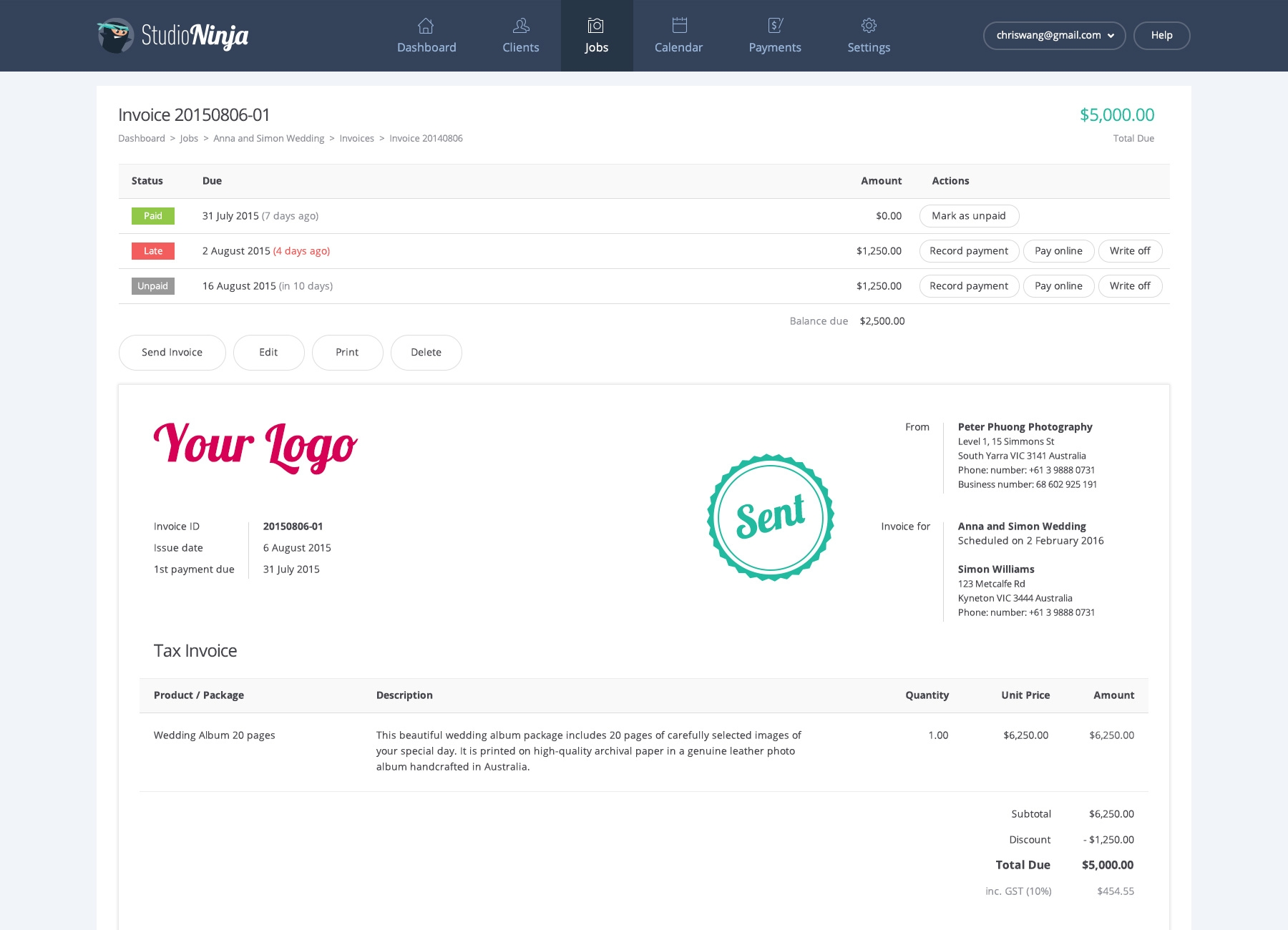 ninja academy learn about payments amp invoicing studio ninja view and pay invoice