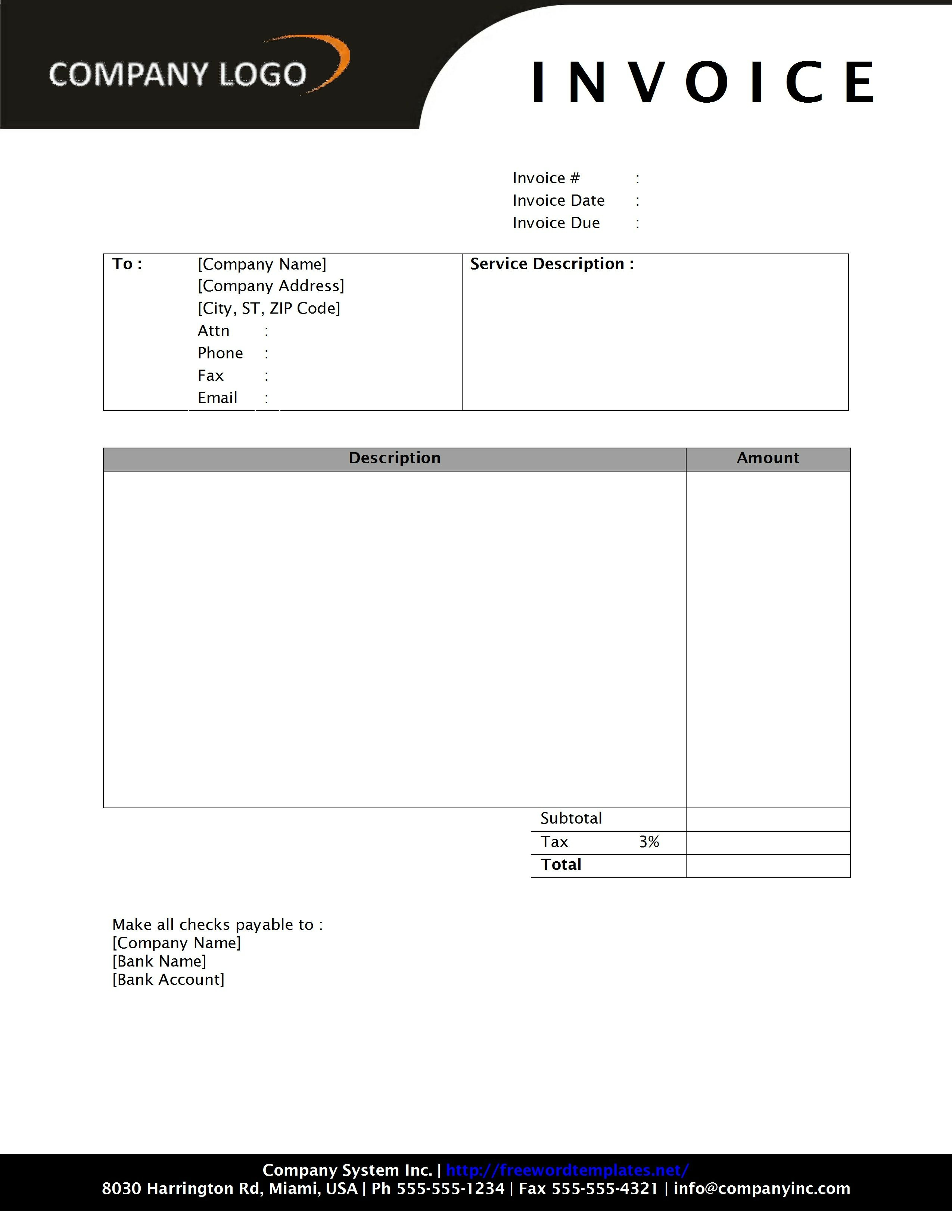 photography invoice freewordtemplates invoice on word