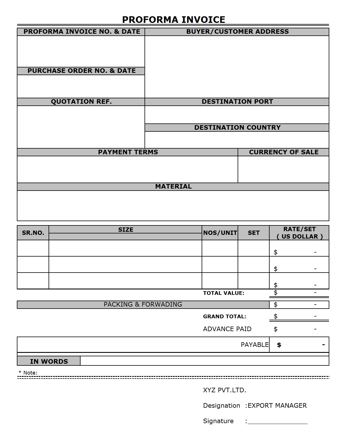 proforma invoice template free download invoice template proforma invoice for international shipments 1208 X 1533
