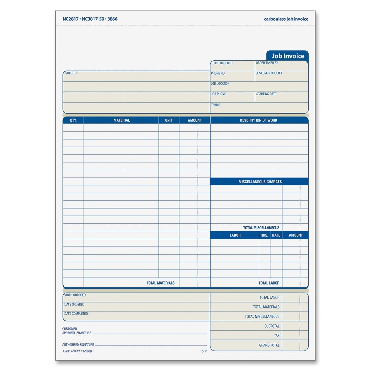 adams nc2817 job invoice unit set adams invoice forms