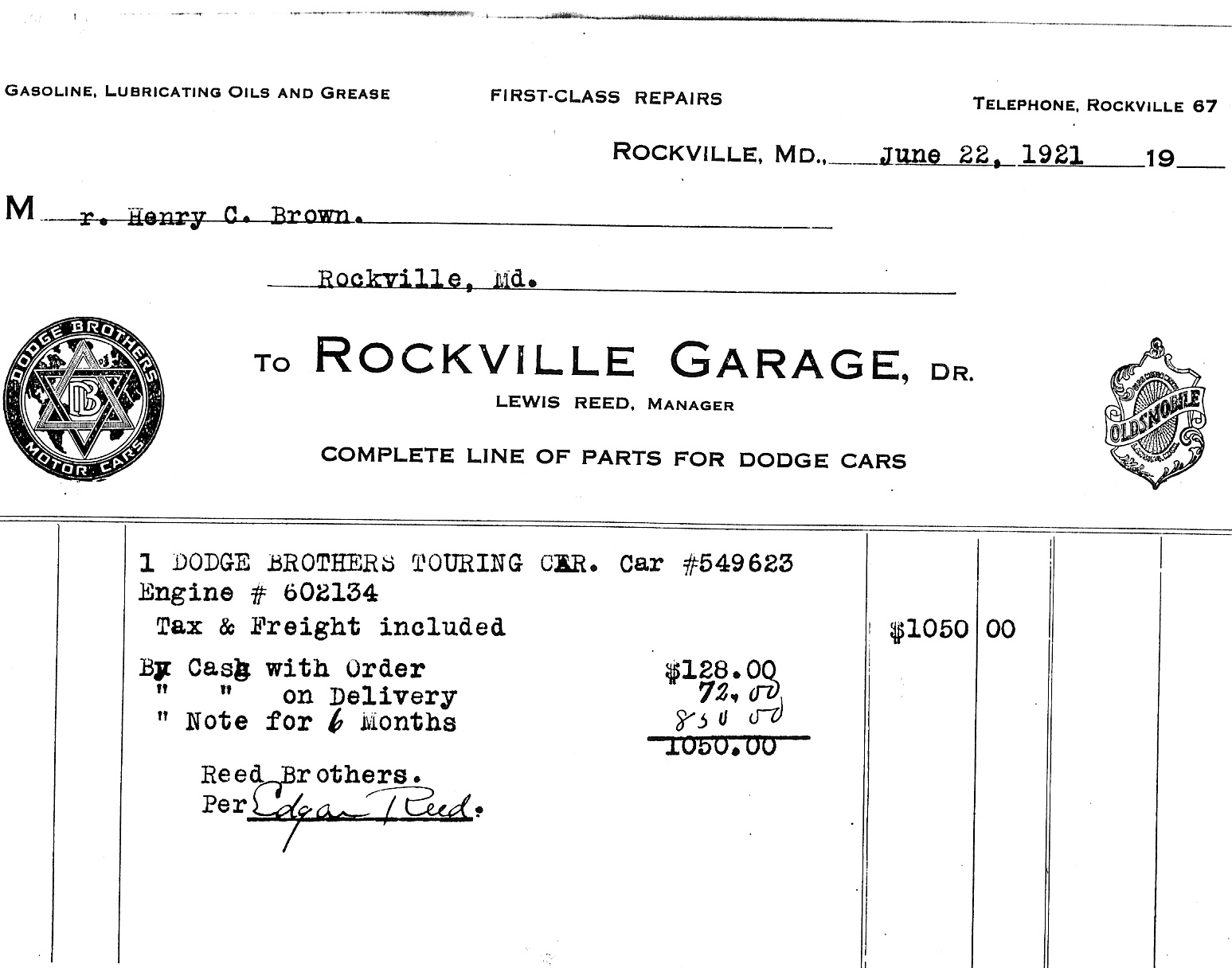 auto dealer invoice original dealer invoice reed brothers dodge history 1915 2012 1547 X 1216