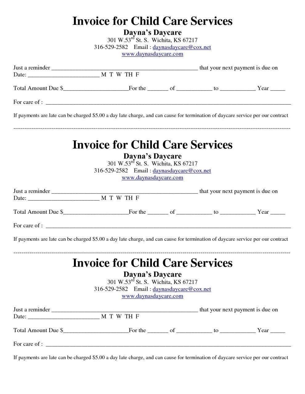 child care invoice template free design invoice template child care invoice template