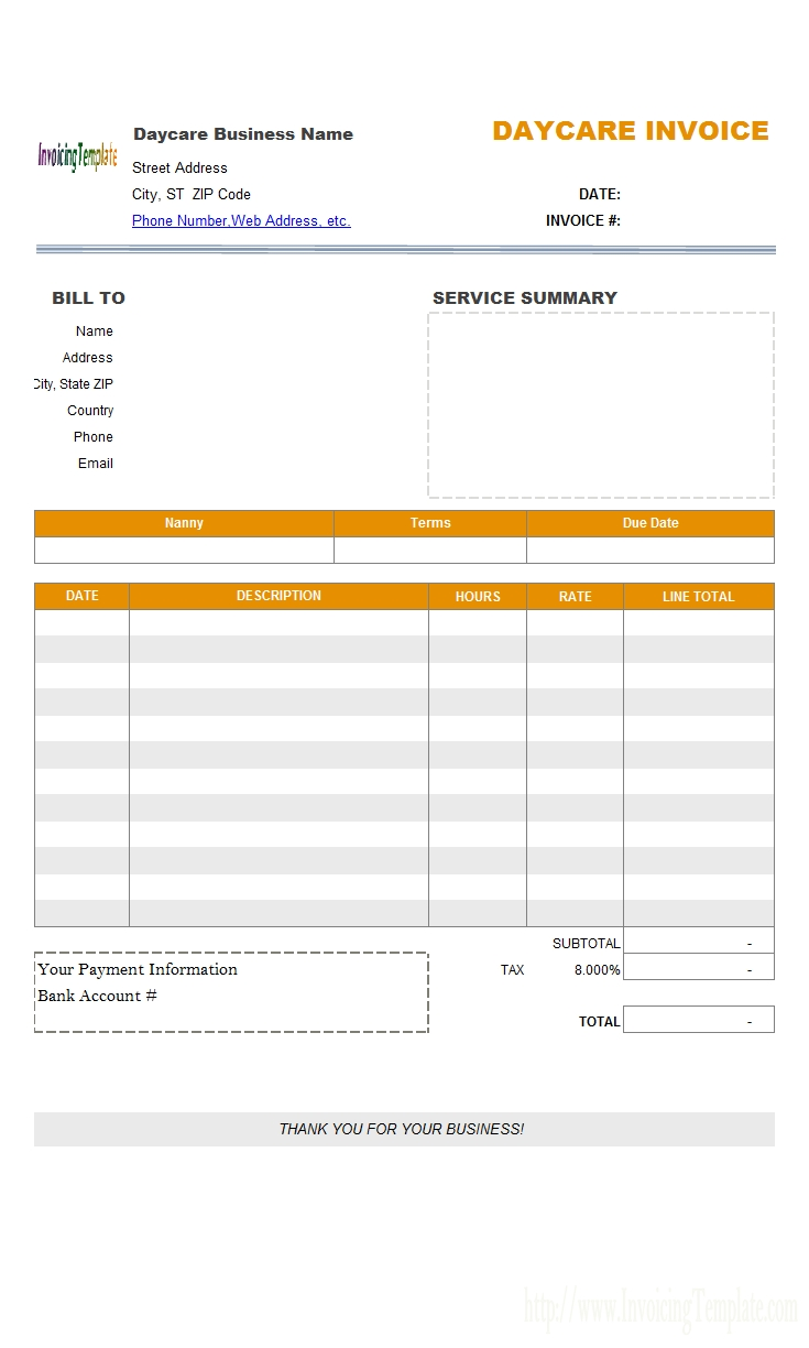 child care invoice template   invoice template ideas