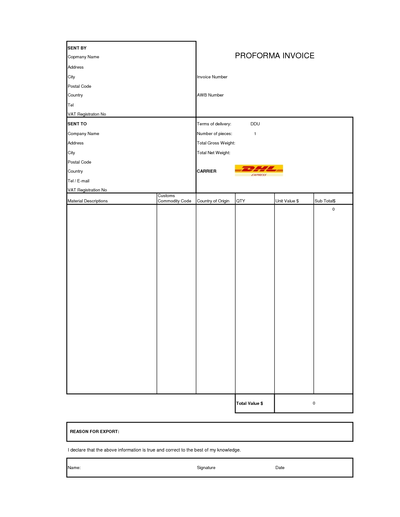 dhl proforma invoice template invoice template  category 2017 tags dhl proforma