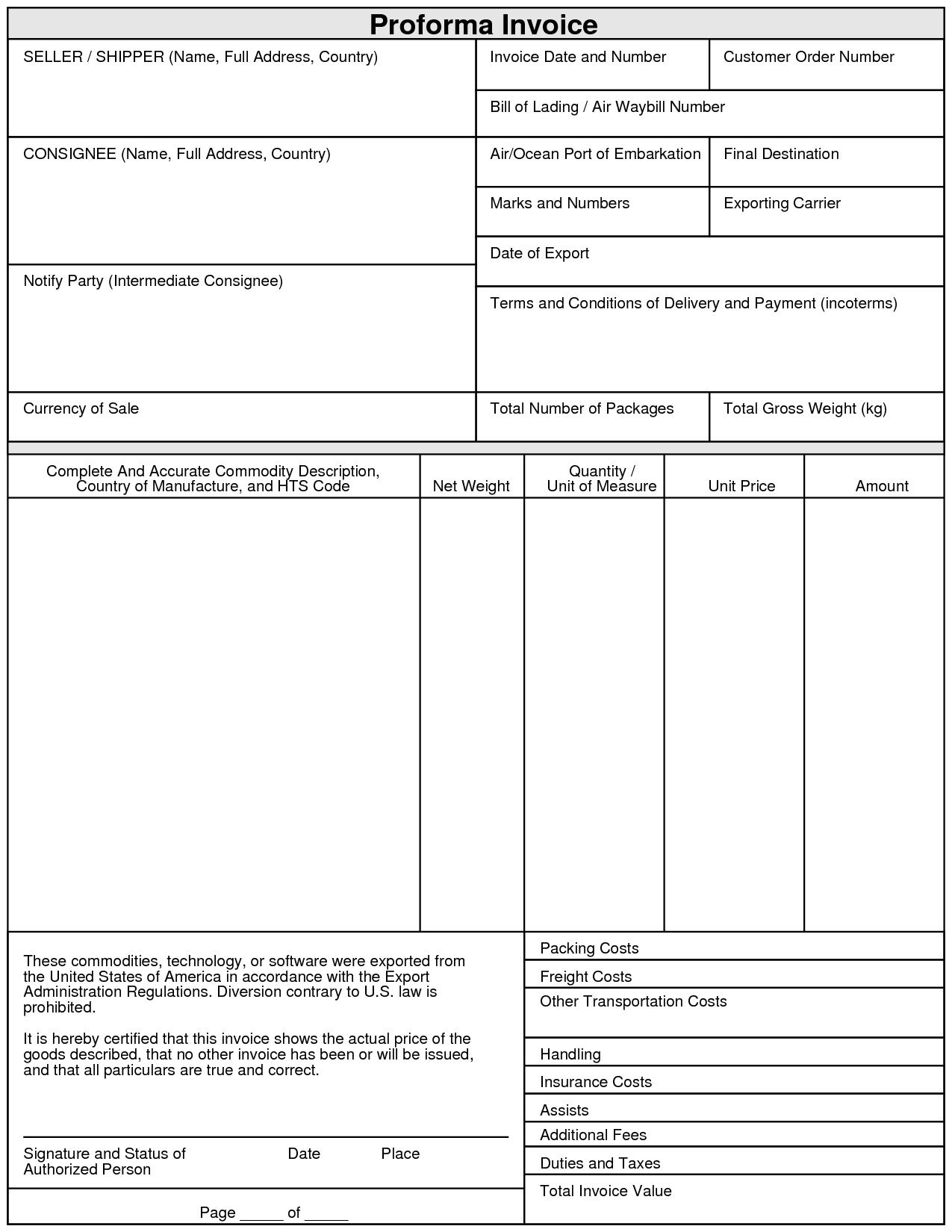 Proforma Invoice Template Pdf