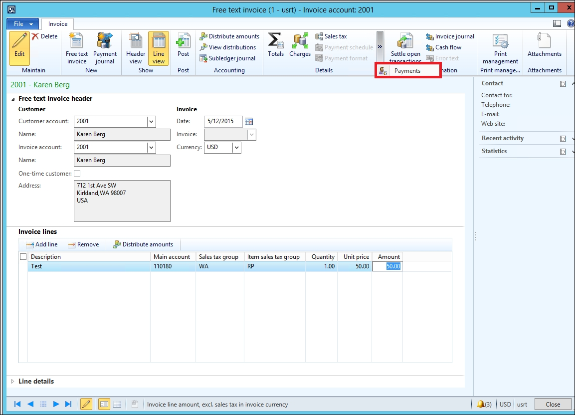 free text invoice error posting a free text invoice when call center is enabled 1153 X 832