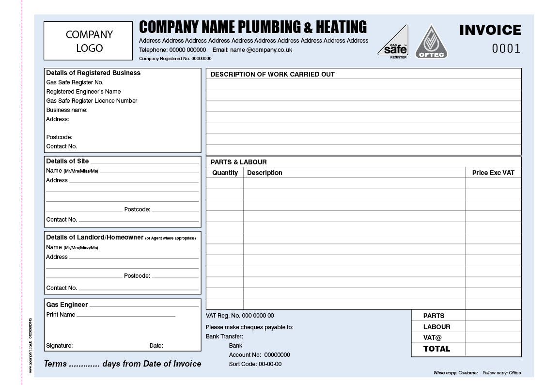 invoice book template invoice books for plumbers personalised duplicate pads 1123 X 794
