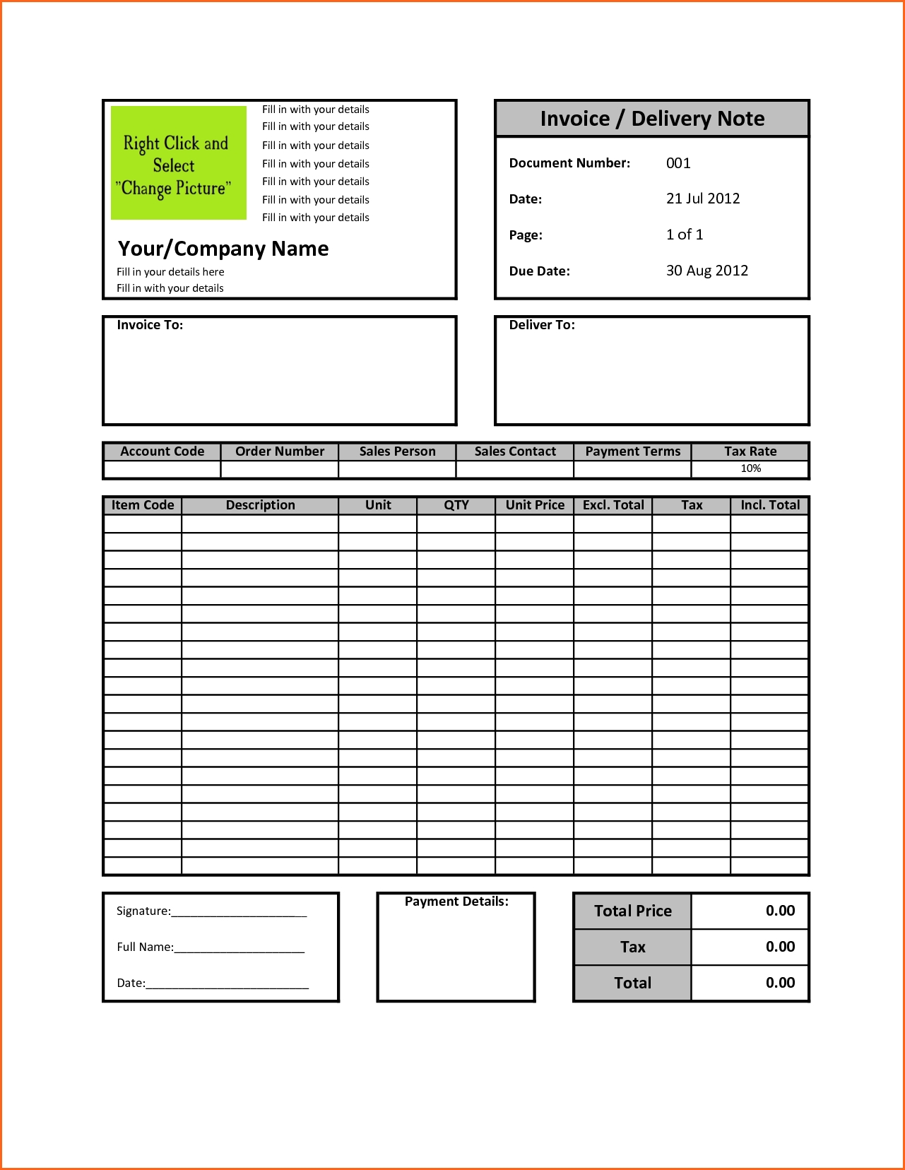 Invoices In Excel