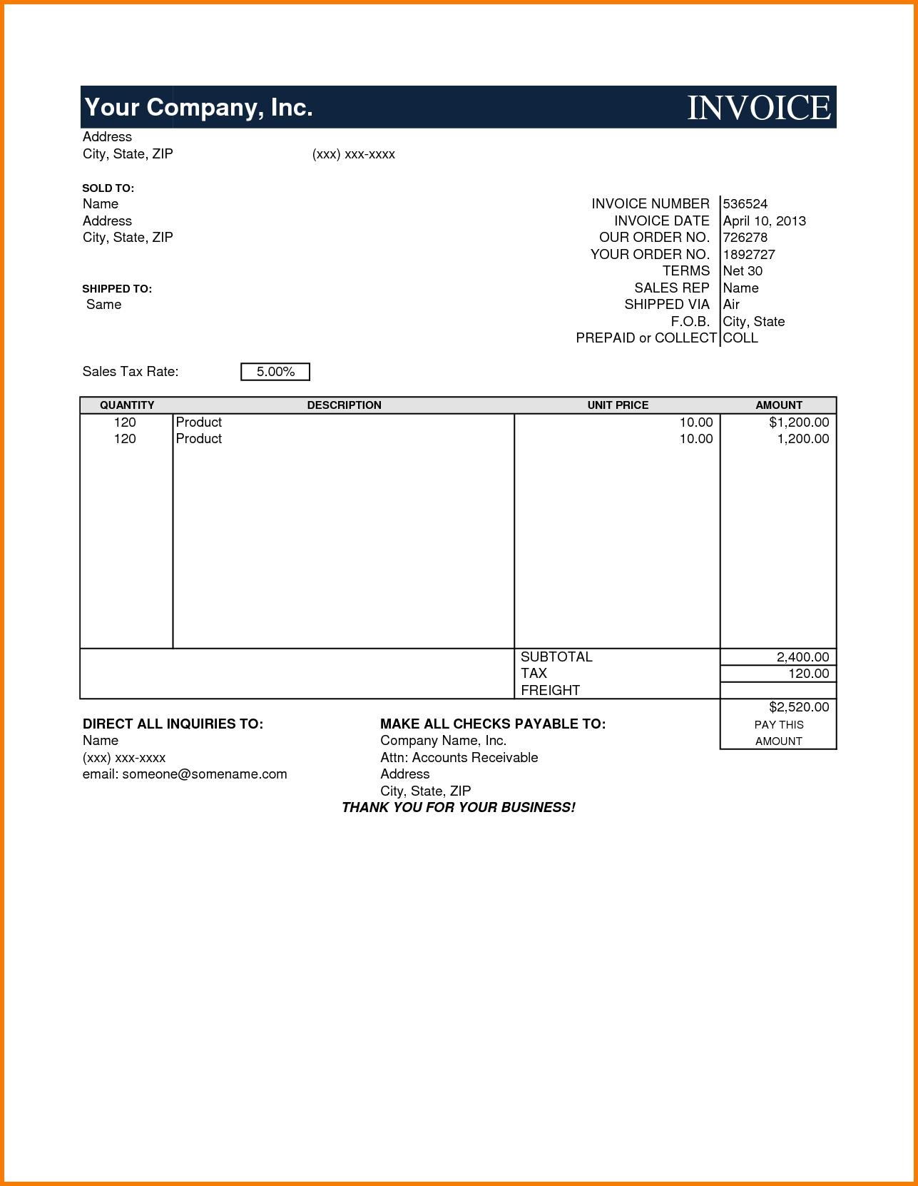 model invoice template