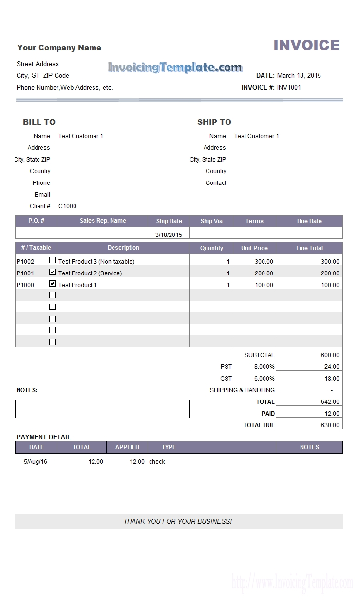 invoice template payment due payment invoice sample