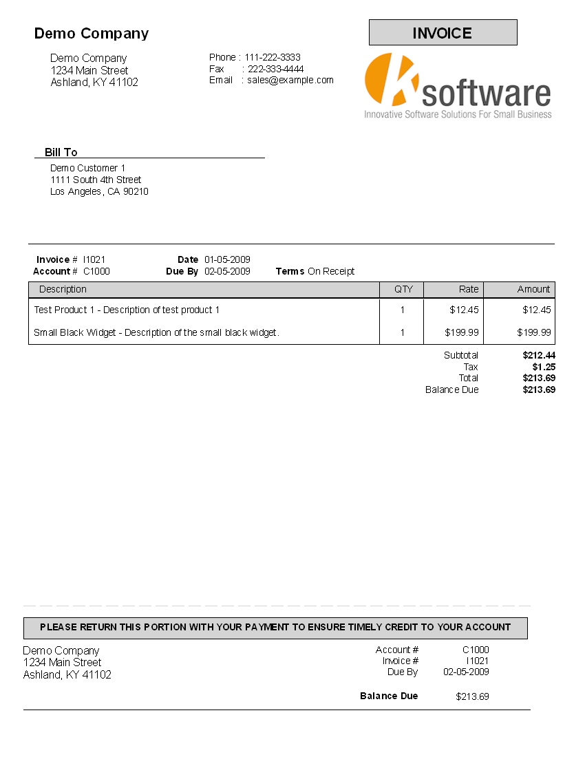 kbilling help payment of the invoice