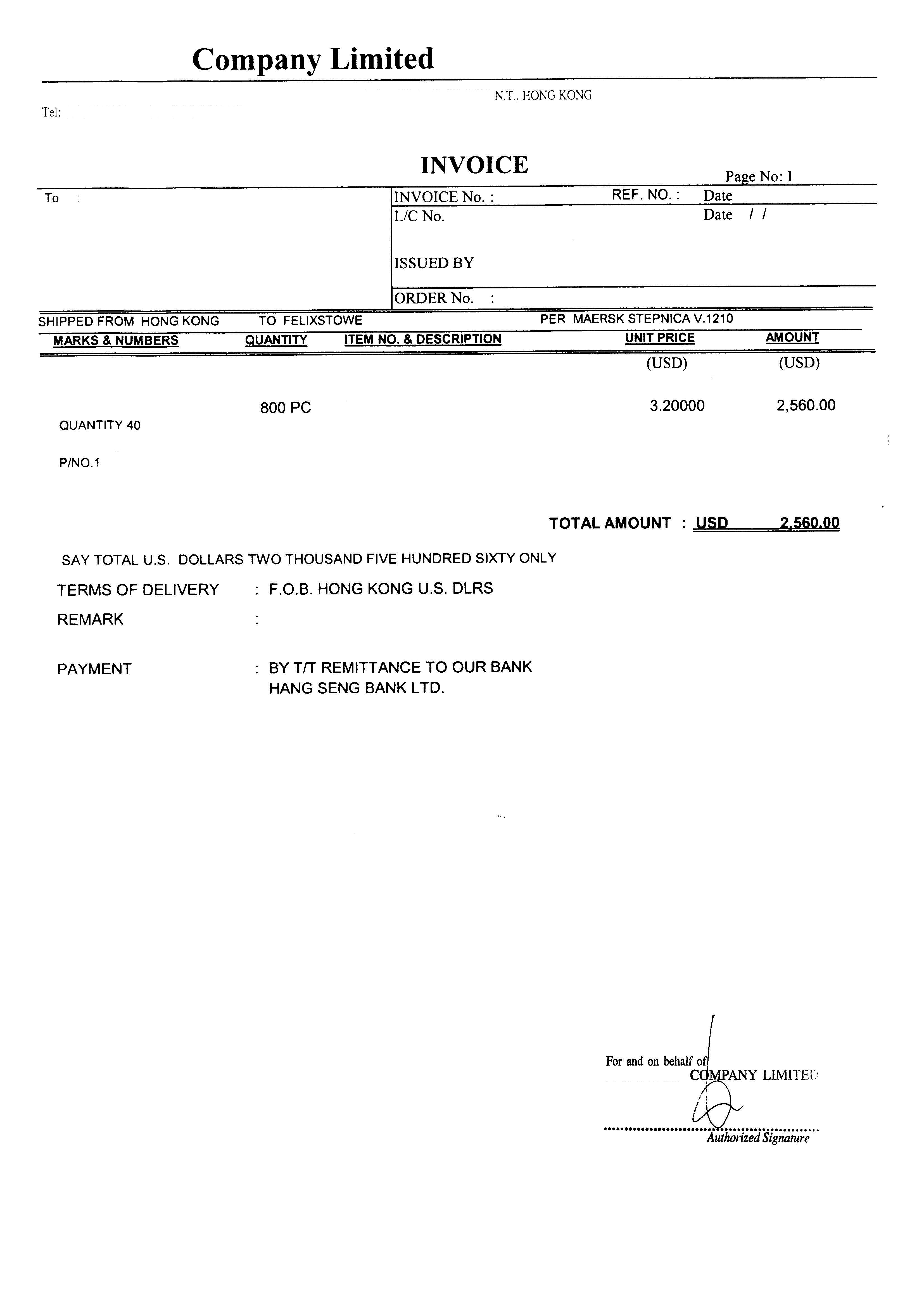 non commercial invoice   invoice template ideas