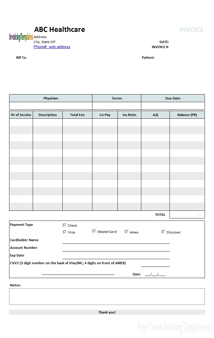medicalinvoicetemplate1 printed insurance invoice template