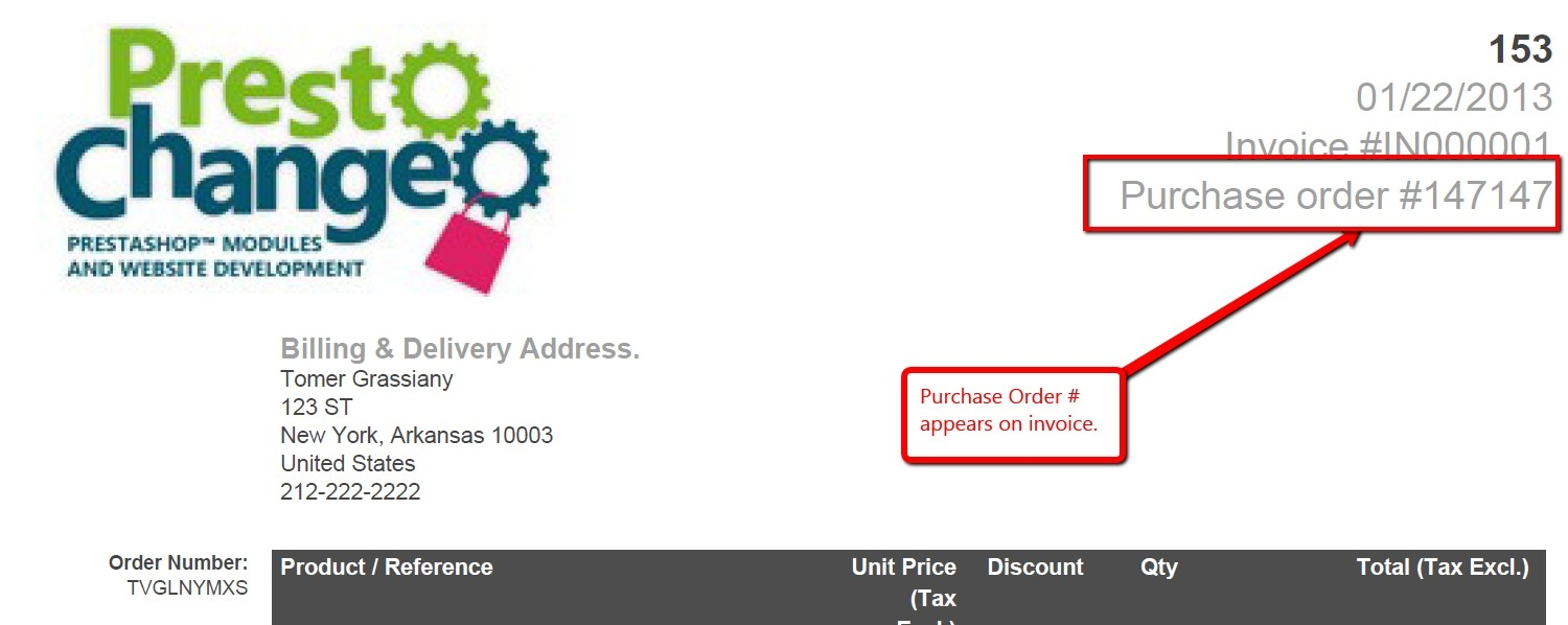 module purchase order accept payments using a purchase order po number invoice