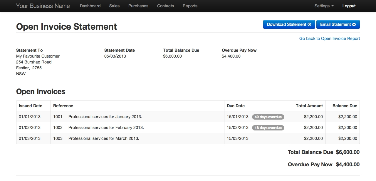 online invoicing invoice and statement