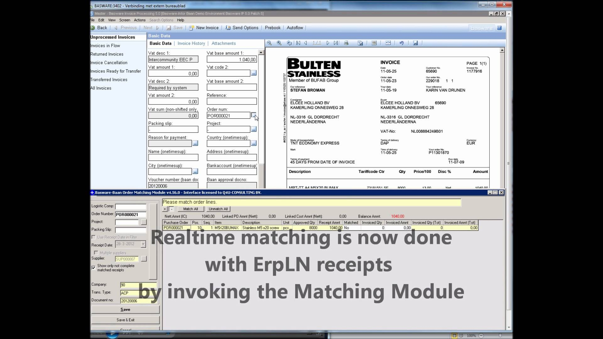 part 3 goods trade invoice basware baan integration live demo basware invoice processing