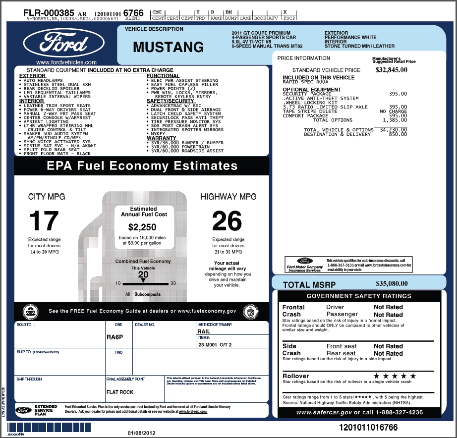 please help me price this new 2011 gt mustangforums vehicle invoice price