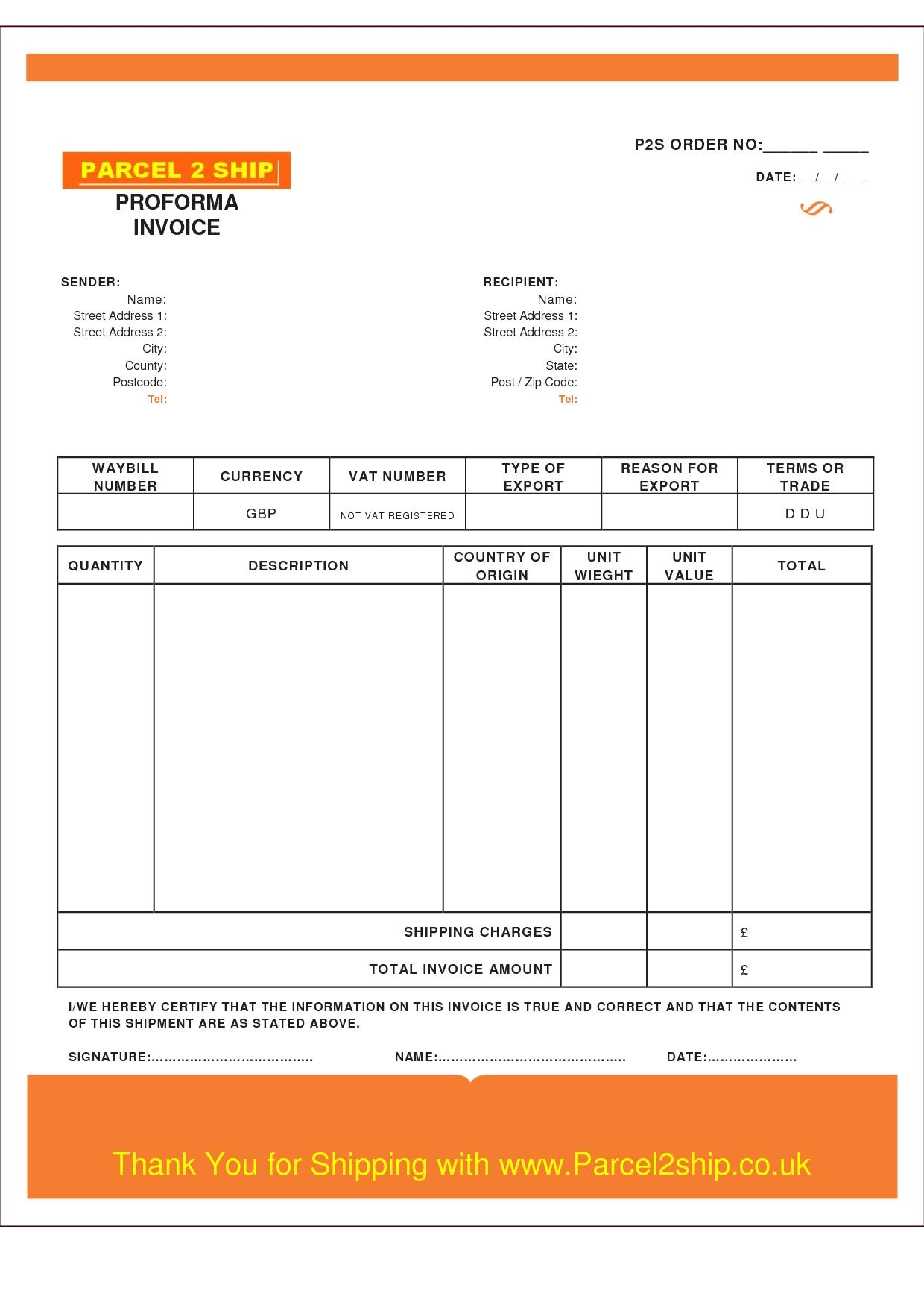 Proforma Invoice Template Pdf  Invoice Template Ideas