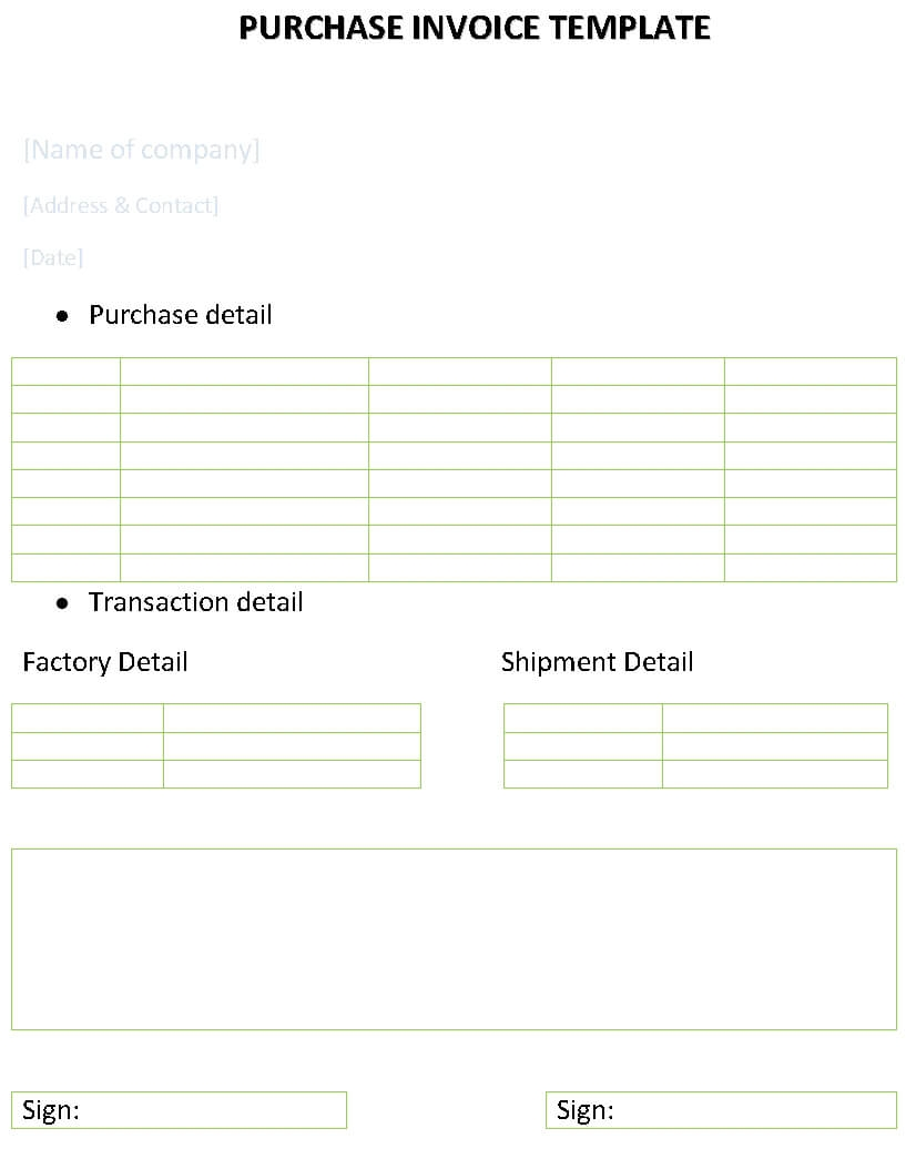 purchase invoice template purchase order invoice template sample create your own invoice