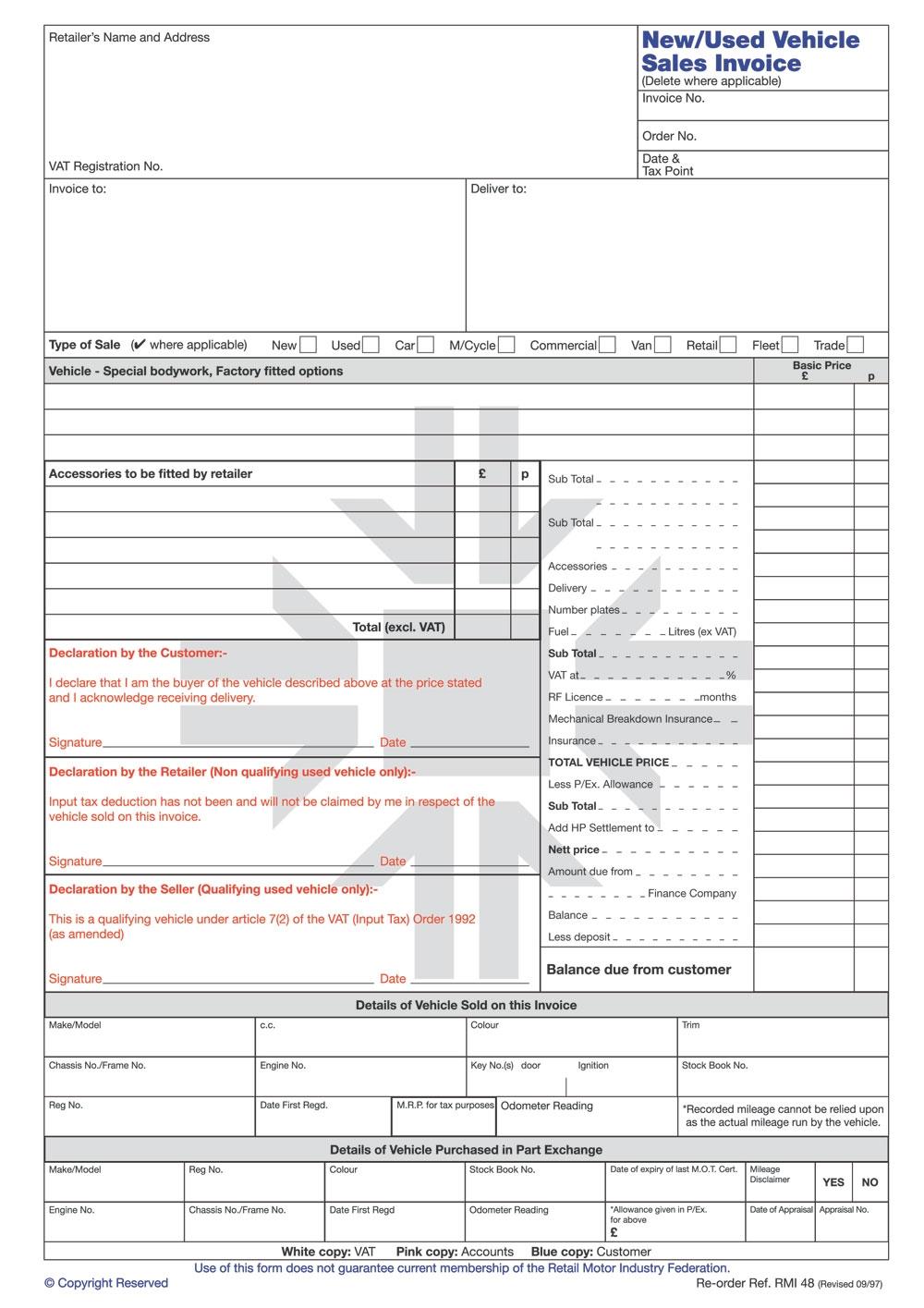 rmi048 new used vehicle sales invoice pad rmi webshop rmi used vehicle invoice
