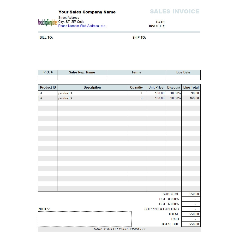 sales invoice template with discount per 110 free download free sales invoice template
