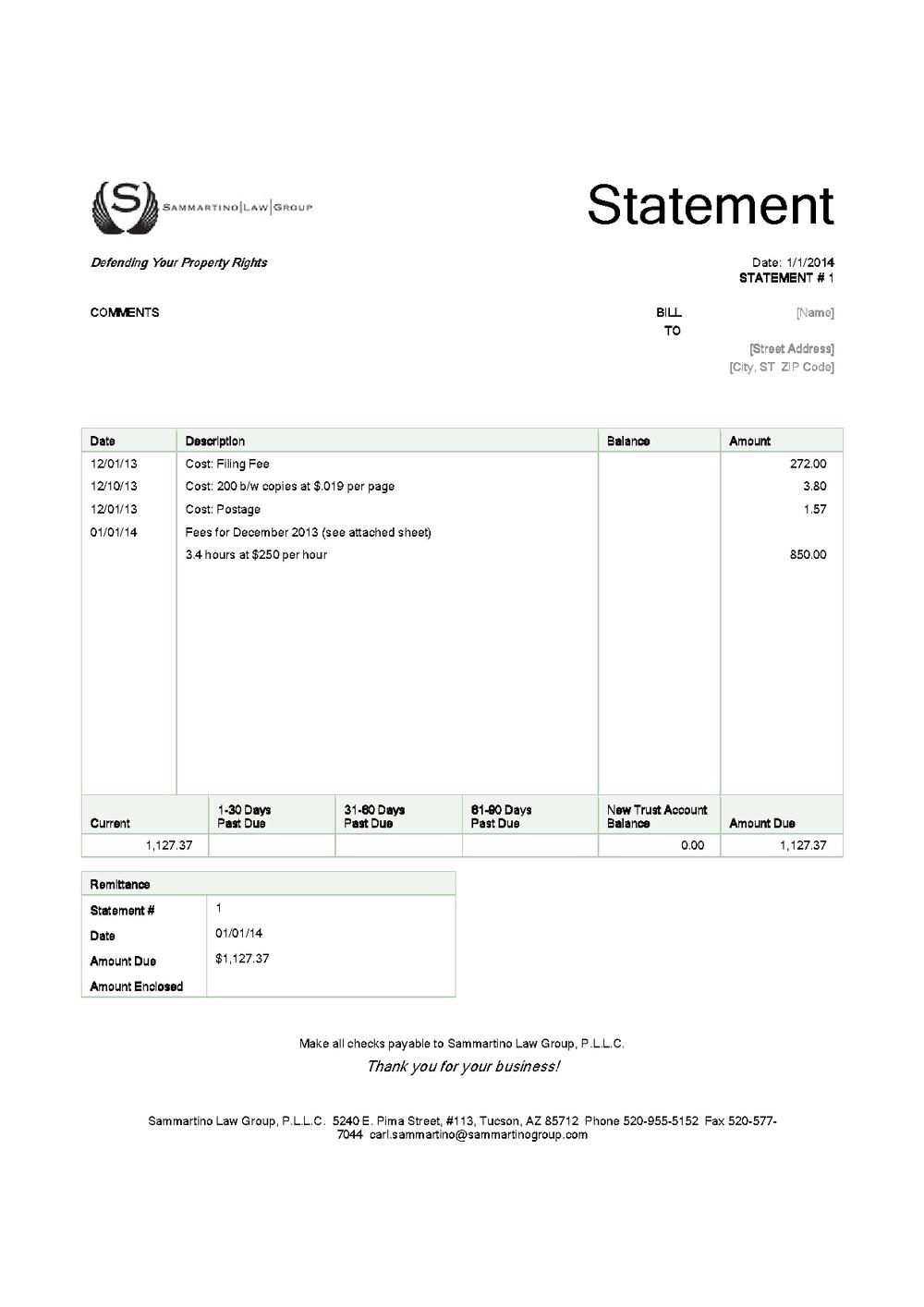 Sample Legal Invoice