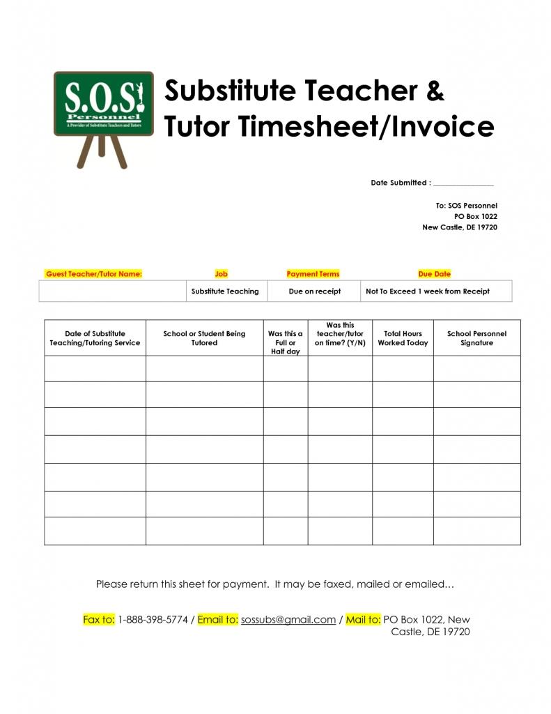 school invoice template substitute teache tutor timesheet invoice best free invoice