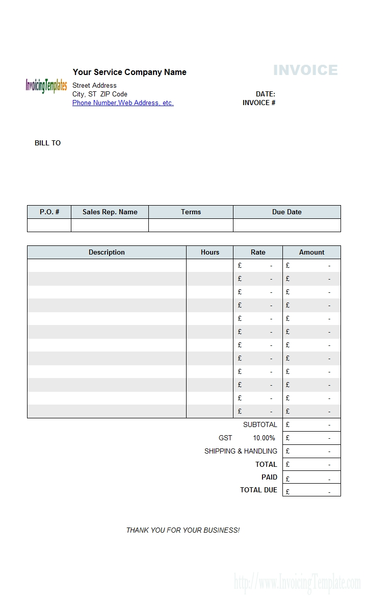 service invoice template sample of service invoice