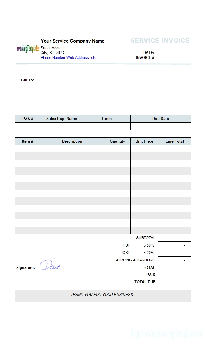 Insurance Invoice Template