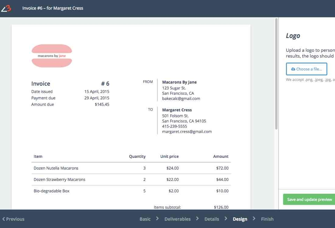 baked goods invoice creator bakecalc invoice creator app