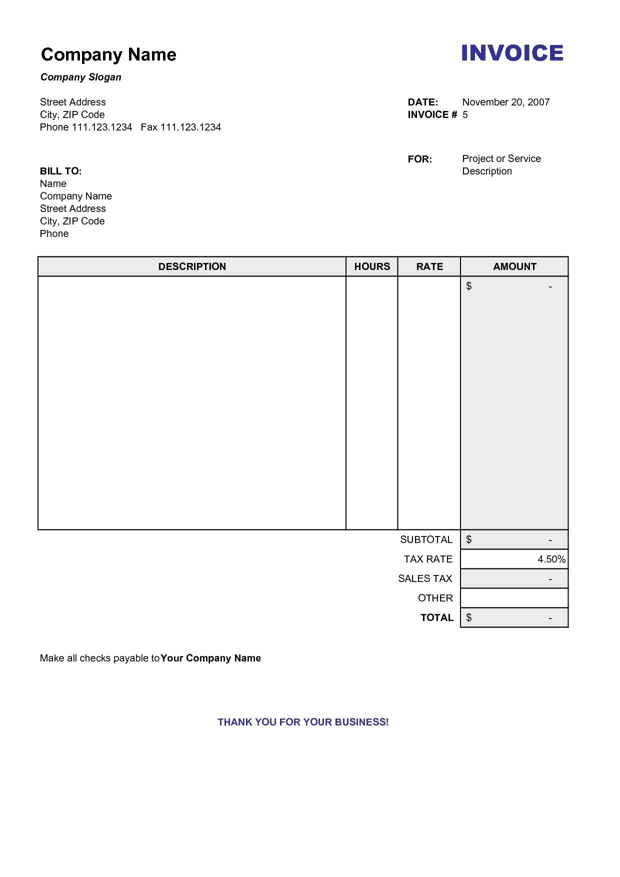Blank Printable Invoices Invoice Template Ideas - Blank printable invoice template