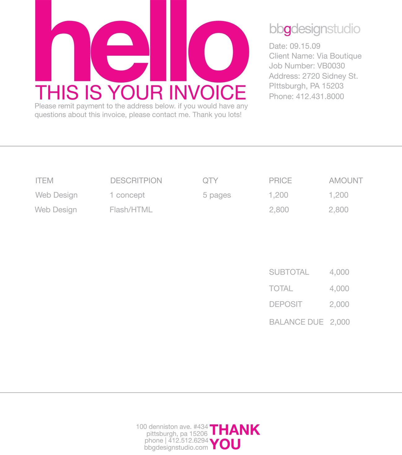 Freelance Designer Invoice