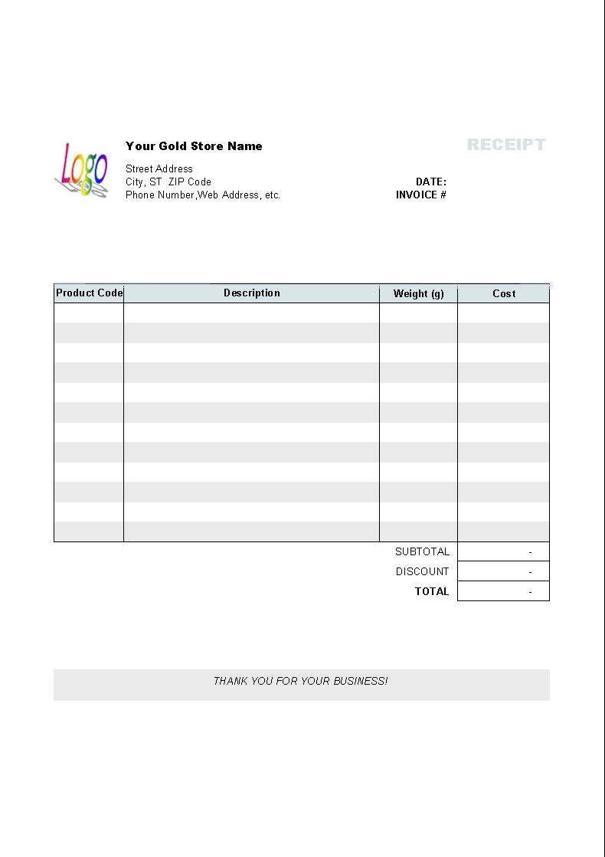 gold shop receipt template uniform invoice software invoice and receipt template