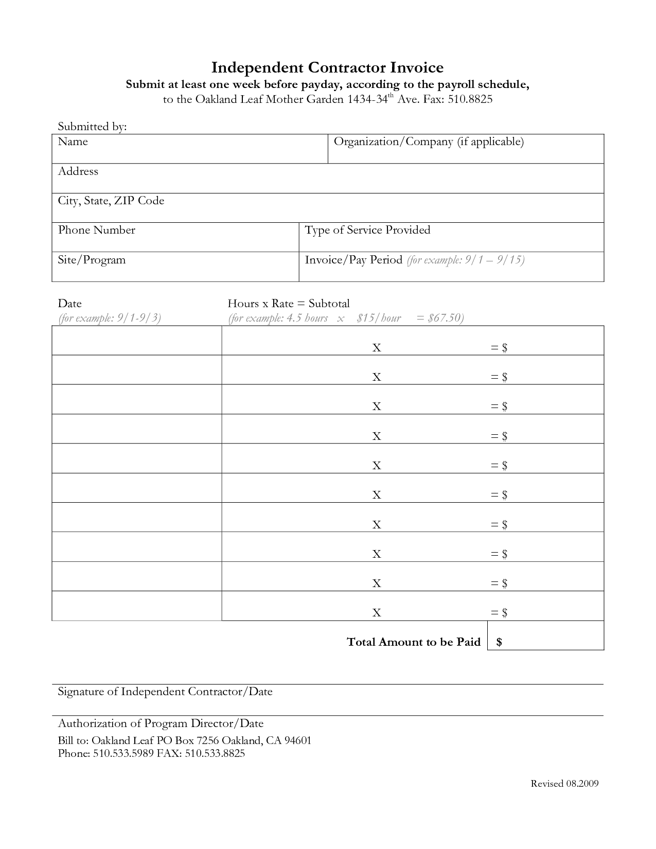 Independent Contractor Invoice Template Invoice Template Ideas – Payroll Receipt Template